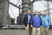 SHOT 10/29/18 9:45:54 AM - Sunrise Cooperative is a leading agricultural and energy cooperative based in Fremont, Ohio with members spanning from the Ohio River to Lake Erie. Sunrise is 100-percent farmer-owned and was formed through the merger of Trupointe Cooperative and Sunrise Cooperative on September 1, 2016. Photographed at the Clyde, Ohio grain elevator was George D. Secor President / CEO and John Lowry<br /> Chairman of the Board of Directors with  CoBank RM Gary Weidenborner. (Photo by Marc Piscotty © 2018)