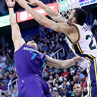 27 January 2016: Charlotte Hornets guard Jeremy Lin (7) goes for the layup against Utah Jazz center Rudy Gobert (27) during the Utah Jazz 102-73 victory over the Charlotte Hornets, at the Vivint Smart Home Arena, Salt Lake City, Utah, USA.