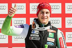 Zan Kranjec (SLO) celebrates during 9th Men's Giant Slalom race of FIS Alpine Ski World Cup 55th Vitranc Cup 2016, on March 4, 2016 in Kranjska Gora, Slovenia. Photo by Vid Ponikvar / Sportida
