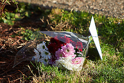 © Licensed to London News Pictures. 18/01/2017. AYLESBURY, UK.  Flowers left at the scene in Brompton Close, Aylesbury where a 26 year old man was stabbed on Monday evening. He died in hospital the next day (Tuesday). An 18 year old man has been arrested on suspicion of murder and remains in custody.  Photo credit: Cliff Hide/LNP