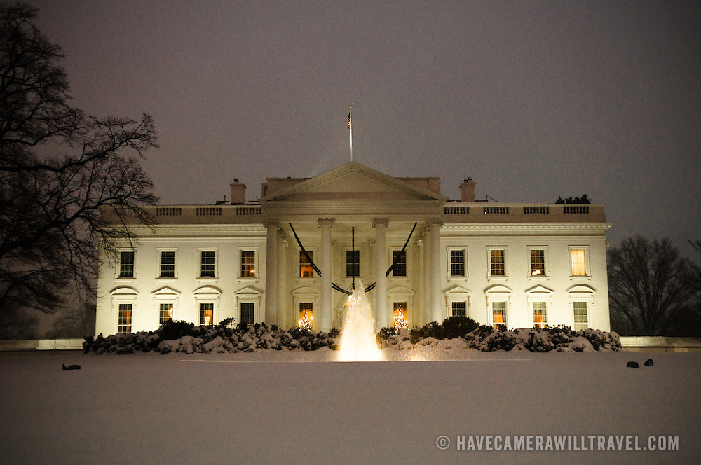 The White House in the middle of a snowstorm at dusk