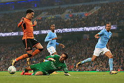 24th October 2017 - Carabao Cup (4th Round) - Manchester City v Wolverhampton Wanderers - Man City goalkeeper Claudio Bravo saves from Helder Costa of Wolves - Photo: Simon Stacpoole / Offside.