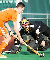 ROTTERDAM -  Jasper Tukkers (Neth.)  scores against  English goalie Ollie Payne.   Practice Match Hockey : Netherlands Boys U18  v England U18 .  COPYRIGHT KOEN SUYK