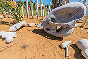 A symbolic elephants skull and bullet cartridge in the Not For Sale garden by Mark Whyte and Sharmayne Ferguson, to highlight the illegal ivory trade - Preparations for the Hampton Court Flower Show, organised by teh Royal Horticultural Society (RHS). In the grounds of the Hampton Court Palace, London.