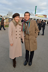 BEAR GRYLLS and his wife SHARA at the 2013 Hennessy Gold Cup at Newbury Racecourse, Berkshire on 30th November 2013.