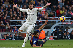 October 28, 2018 - Barcelona, Catalonia, Spain - Luis Suarez and Sergio Ramos during the match between FC Barcelona and Real Madrid CF, corresponding to the week 10 of the Liga Santander, played at the Camp Nou, on 28th October 2018, in Barcelona, Spain. (Credit Image: © Joan Valls/NurPhoto via ZUMA Press)