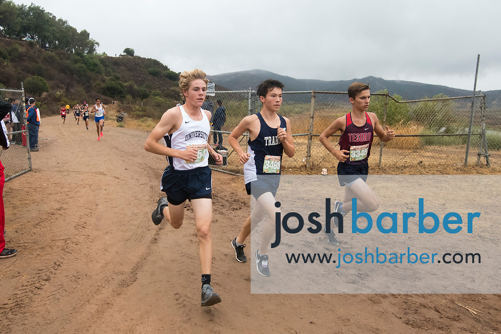 University's Gabriel Hertel, Trabuco Hills' Trent Hennesay, Tesoro's Charlie Blackburn Mora during the Boys Freshman Larger Schools race of the Orange County Cross Country Championships  at Oak Canyon Park on Saturday, October 13, 2018 in the unincorporated community of Silverado, Calif. (Photo by Josh Barber, Contributing Photographer)