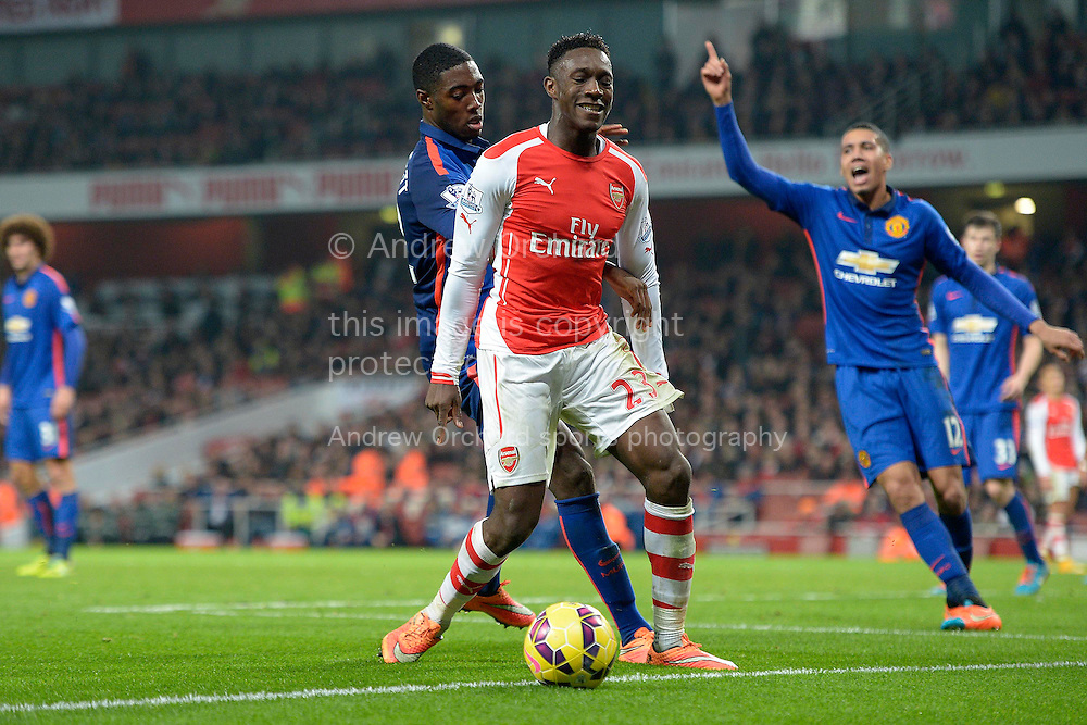 Danny Welbeck of Arsenal reacts after losing the ball. Barclays Premier league match, Arsenal v Manchester Utd at the Emirates Stadium in London on Saturday 22nd November 2014.<br /> pic by John Patrick Fletcher, Andrew Orchard sports photography.