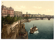 Stunning Old photochrome prints turn back the clock in London <br /> <br /> colourised postcards from the Victorian era,  postcards were made using photochrom - a method of producing colourised photos from negatives<br /> <br /> Photo shows: Thames Embankment, England, between 1890 and 1900<br /> ©Library of Congress/Exclusivepix Media