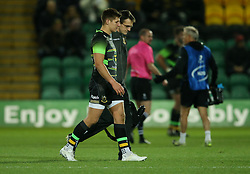 Northampton Saints' Piers Francis goes off for a head injury assessment during the European Rugby Champions Cup, Pool Two match at Franklin's Gardens, Northampton.