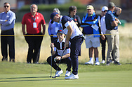 Conor Purcell (GB&I) and Alex Fitzpatrick (GB&I) on the 16th during Day 2 Foursomes of the Walker Cup, Royal Liverpool Golf CLub, Hoylake, Cheshire, England. 08/09/2019.<br /> Picture Thos Caffrey / Golffile.ie<br /> <br /> All photo usage must carry mandatory copyright credit (© Golffile   Thos Caffrey)