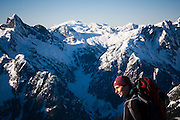 Climber Grace Marx on a winter trip to the South Picket Range, North Cascades National Park, Washington.