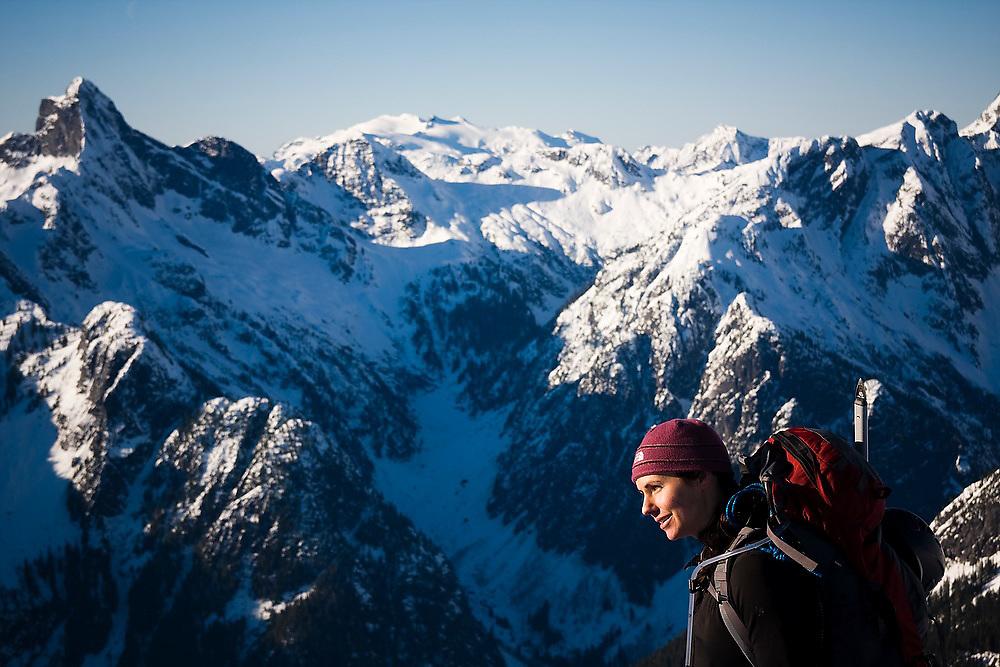 Climber Grace Marx on a winter trip to the South Picket Range, North Cascades National Park, Washington.