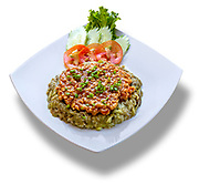 A plate of Cha Trop Cambodian food professionally photographed.