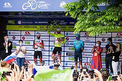 Zdravko Pocivalsek, Sonja Gole, second placed Diego ULISSI of UAE TEAM EMIRATES, winner Tadej POGACAR of UAE TEAM EMIRATES and third placed Matteo SOBRERO of ASTANA - PREMIER TECH, Natalija Gorscak, Cvetko Srsen and Maja Pak at trophy ceremony after the 5th Stage of 27th Tour of Slovenia 2021 cycling race between Ljubljana and Novo mesto (175,3 km), on June 13, 2021 in Slovenia. Photo by Matic Klansek Velej / Sportida
