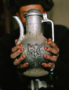 A water pitcher used for washing hands before eating, decorated with the clan's sign..Campment of Ortobil (Sufi), all the way at the end of the Little Pamir, near the Tajik/China border. .Winter expedition through the Wakhan Corridor and into the Afghan Pamir mountains, to document the life of the Afghan Kyrgyz tribe. January/February 2008. Afghanistan
