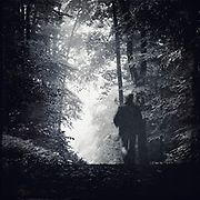 Man on a hike through a forest