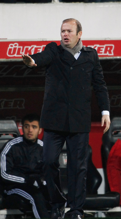Gaziantepspor's coach Abdullah Ercan during their Turkish superleague soccer match Besiktas between Gaziantepspor at BJK Inonu Stadium in Istanbul Turkey on Tuesday, 05 January 2012. Photo by TURKPIX