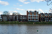 Barnes Greater London. 1st March 2020 <br />  Pre Boat Race Fixture, View across the River to the White Hart Public House, on the Surrey bank,  Championship Course, Putney to Mortlake, River Thames, [Mandatory Credit: Peter SPURRIER/Intersport Images],