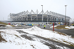 Snowy scenes outside the stadium before Derby County's and Fulham's match at Pride Park Stadium