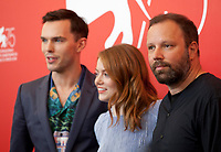 Nicholas Hoult, Emma Stone and Director Yorgos Lanthimos at the photocall for the film The Favourite at the 75th Venice Film Festival, on Thursday 30th August 2018, Venice Lido, Italy.