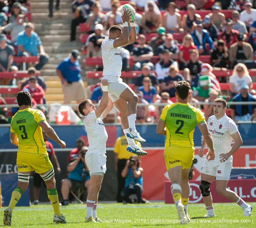 Teams compete in Sunday knockout stage play of the 2019 USA Sevens at Sam Boyd Stadium in Las Vegas, Nevada. USA. March 3, 2019.<br /> <br /> Jack Megaw. All Rights Reserved.
