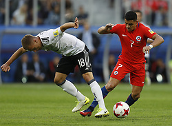 July 3, 2017 - Saint Petersburg, Russia - Alexis Sanchez (R) of Chile national team and Joshua Kimmich of Germany national team during FIFA Confederations Cup Russia 2017 final match between Chile and Germany at Saint Petersburg Stadium on July 2, 2017 in Saint Petersburg, Russia. (Credit Image: © Mike Kireev/NurPhoto via ZUMA Press)