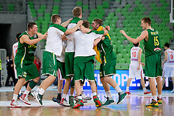 Players of Lithuania celebrate victory during basketball match between National teams of Serbia and Lithuania in semifinal of U20 Men European Championship Slovenia 2012, on July 21, 2012 in SRC Stozice, Ljubljana, Slovenia. Lithuania defeated Serbia 73-68. (Photo by Matic Klansek Velej / Sportida.com)
