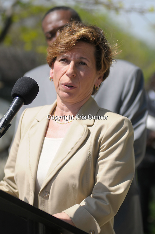Randi Weingarten, President of the American Federation of Teachers, speaks during a press conference on the tentative agreement on the new contract between the Washington Teachers Union and District of Columbia Public Schools on the steps of Eliot Junior High School in Northeast Washington DC on April 7th, 2010