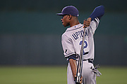 Tampa Bay Rays center fielder B.J. Upton (2) warming up prior to Thursday's baseball game, between the Kansas City Royals and the Tampa Bay Rays at Kauffman Stadium in Kansas City, Missouri. The Royals defeated the Rays 3-2.