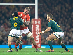Ross Moriarty of Wales under pressure from Embrose Papier of South Africa<br /> <br /> Photographer Simon King/Replay Images<br /> <br /> Under Armour Series - Wales v South Africa - Saturday 24th November 2018 - Principality Stadium - Cardiff<br /> <br /> World Copyright © Replay Images . All rights reserved. info@replayimages.co.uk - http://replayimages.co.uk