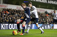 Jack Colback of Newcastle United blocks the ball from Tom Carroll of Tottenham Hotspur. Barclays Premier league match, Tottenham Hotspur v Newcastle Utd at White Hart Lane in London on Sunday 13th December 2015.<br /> pic by John Patrick Fletcher, Andrew Orchard sports photography.