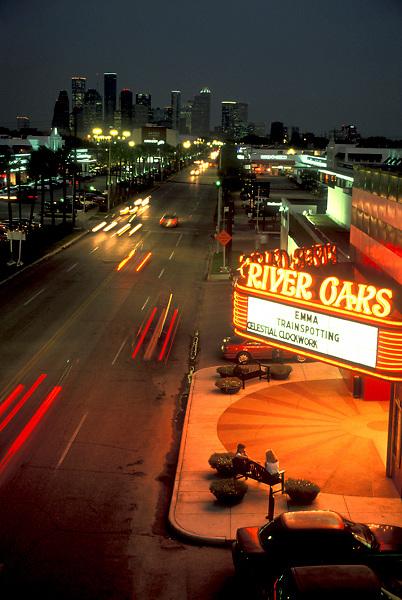 Stock photo of the River Oaks Landmark Theater at night.
