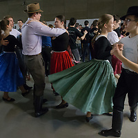 Participants dance during the National folklore dance-house festival in Budapest, Hungary on March 28, 2015. ATTILA VOLGYI