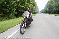 Clint Funderburg of Oregon riding his 1916 Indian during the Motorcycle Cannonball Race of the Century. Day-4 ride from Bloomington, IN to Cape Girardeau, MO. USA. Wednesday September 14, 2016. Photography ©2016 Michael Lichter.