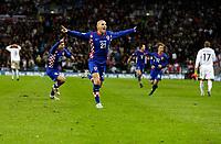 Photo: Richard Lane/Sportsbeat Images.<br />England v Croatia. UEFA European Championships Qualifying. 21/11/2007. <br />Croatia's Mladen Petric celebraes his goal.