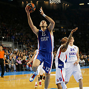 Anadolu Efes's Nenad Krstic (C) and CSKA Moscow's Aaron Jackson (2ndR) during their Turkish Airlines Euroleague Basketball Top 16 Round 3 match Anadolu Efes between CSKA Moscow at Abdi ipekci arena in Istanbul, Turkey, Thursday 15, 2015. Photo by Aykut AKICI/TURKPIX
