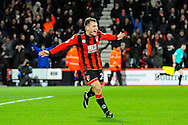 Ryan Fraser of AFC Bournemouth celebrates scoring a goal to give a 3-0 lead to the home team during the Premier League match between Bournemouth and Arsenal at the Vitality Stadium, Bournemouth, England on 3 January 2017. Photo by Graham Hunt.