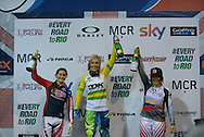 Caroline Buchanan, Australia, with 2nd and Third Place on the Winners Podium, BMX World Cup Finals at  at the Manchester Arena, Manchester, United Kingdom on 19 April 2015. Photo by Charlotte Graham.