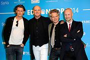 Uitreiking van de Edison POP 2014 awards in de The Harbour Club, Amsterdam<br /> <br /> Op de foto:  BLØF -  Paskal Jakobsen , Bas Kennis , Peter Slager ,<br /> Norman Bonink