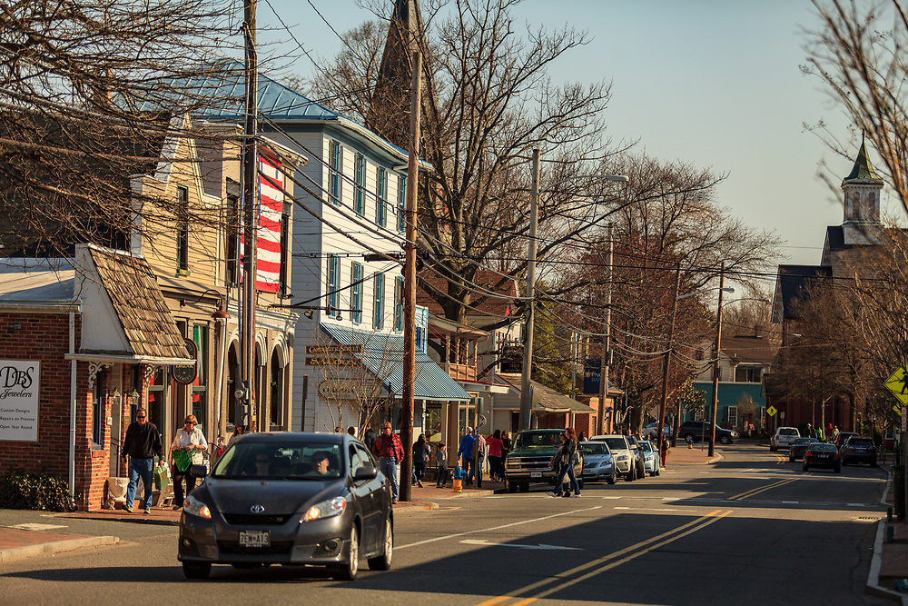 St. Michaels, MD, USA - March 30, 2013: The Main Street of St Michaels Maryland