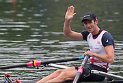 Lucerne, SWITZERLAND. GBR LM1X. Adam FREEMAN-PASK, responds to a call from the grandstand after winning  the Lightweight Men's single sculls, semi final at the 2014 FISA WC III, Lake Rotsee.  09:27:59  Saturday  12/07/2014  [Mandatory Credit; Peter Spurrier/Intersport-images]