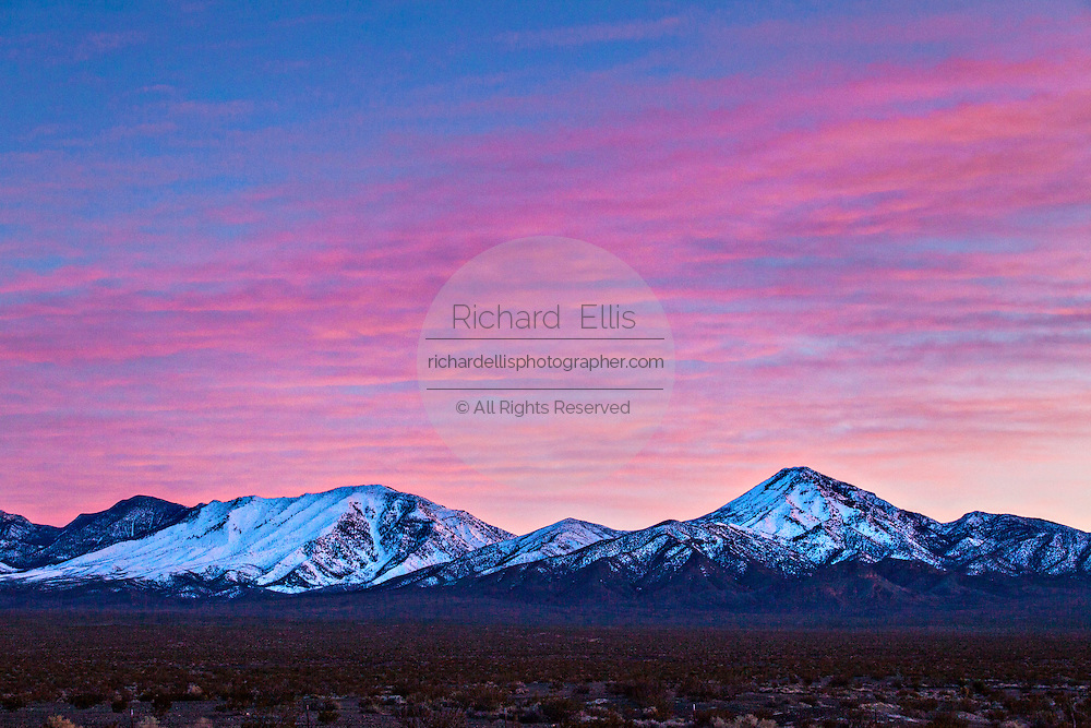 Snow covered Funeral Mountains in Amargosa Valley, NV.