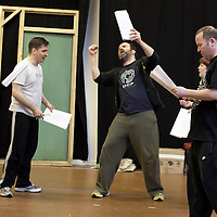 """Picture shows : . Ros Sydney as Morag ,Johnny McKnight as Callum and  Greg Hemphill as Finlay and Paul Riley as Fran. .Rehearsal of the forthcoming National Theatre of Scotland production 'An Appointment with The Wicker Man'..Picture © Drew Farrell  ( Tel : 07721-735041 ).On a remote Scottish island, the Loch Parry Theatre Players mount their am-dram version of The Wicker Man. When their lead actor goes missing in mysterious circumstances, they call on the services of a television cop from the mainland to step in and save their production. ..The play opens at the MacRobert Arts Centre, Stirling on 18th February 2012 before touring Aberdeen, Glasgow, Inverness and Dunfermline...The Wicker Man regularly tops """"Best Horror Film of All Time"""" lists and is regarded as a true film classic. With an unforgettable sense of creeping dread, a wonderfully memorable score by Paul Giovanni, career defining performances from Edward Woodward and Christopher Lee it also has arguably the best ending in cinema history. Now, in an affectionate new adaptation, the National Theatre of Scotland gives a gallus round of applause to this immortal chronicle of strange goings-on in a wee village. ..An Appointment with the Wicker Man features Greg Hemphill (Chewin' the Fat) and Johnny McKnight (Little Johnny's Big Gay Wedding) alongside a line-up of comic talent. It is at once a deliciously wicked homage to, and a tender celebration of, a piece of cinema history that reveals for us the spooky undercurrents lurking just below the surface of Scottish village life. ..The Loch Parry Players are messing with forces they can't possibly comprehend but at the end of the night, only one thing is for sure . . . someone's going to burn for this...Cast..Sean Biggerstaff    as       Howie and Rory.Jimmy Chisolm      as       Simon.Greg Hemphill        as     Finlay.Johnny McKnight   as      Callum.Sally Reid                 as      Marie.Paul Riley.         as      Fran.Ros Sydney"""