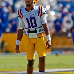 Oct 12, 2013; Baton Rouge, LA, USA; LSU Tigers quarterback Anthony Jennings (10) against the Florida Gators prior to a game at Tiger Stadium. Mandatory Credit: Derick E. Hingle-USA TODAY Sports