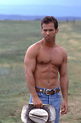 shirtless hunky cowboy standing in a field