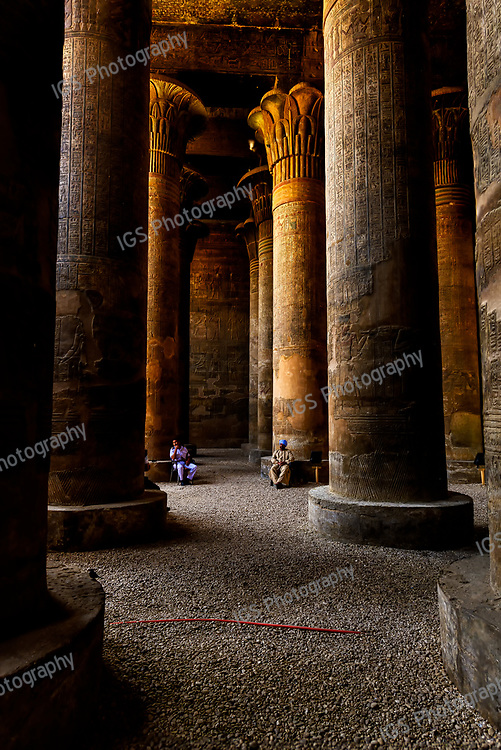 Massive columns in the Hypostyle hall of Khnum temple, Esna