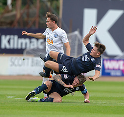 Ayr United's Laurence Shankland and Dundee's Josh Meekings and Dundee's Lewis Spence. half time : Dundee 0 v 0 Ayr United, Scottish League Cup Second Round, played 18/8/2018 at the Kilmac Stadium at Dens Park, Scotland.