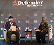 Houston ISD Superintendent Richard Carranza, left, and Sonceria Jiles, right, participate in a Coffee and Conversation sponsored by the Houston Defender and Kelsey-Seybold, June 20, 2017.