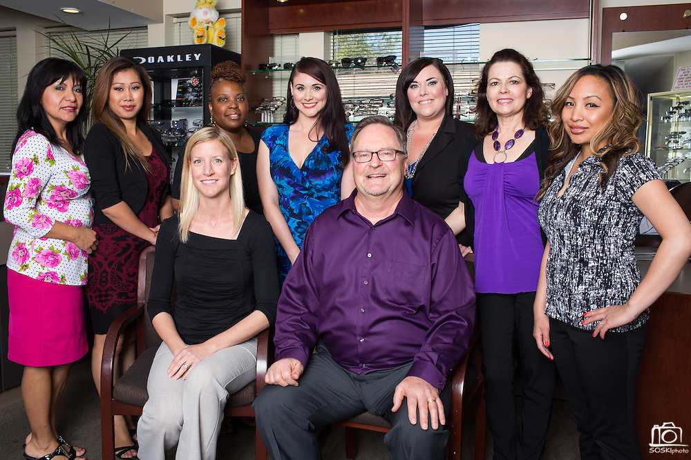 Owner Raymond Pedersen, OD, and his team poses for a portrait at Capitol Eye Care Center in Fremont, California, on April 10, 2014. (Stan Olszewski/SOSKIphoto)